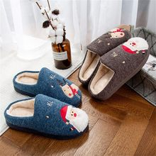 Winter Flock Plush Warm Man Christmas Platform Flat indoor Floor Cotton Slippers Cuty Santa Deer Shoe Home Slippers Big size(China)