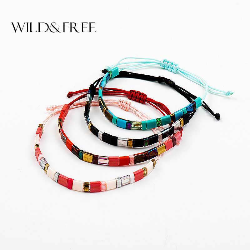 Dzika i wolna czeska ręcznie robiona bransoletka z koralików MIYUKI Tila czarna bransoletka z czerwonego sznurka modna regulowana damska bransoletka męska jako prezent