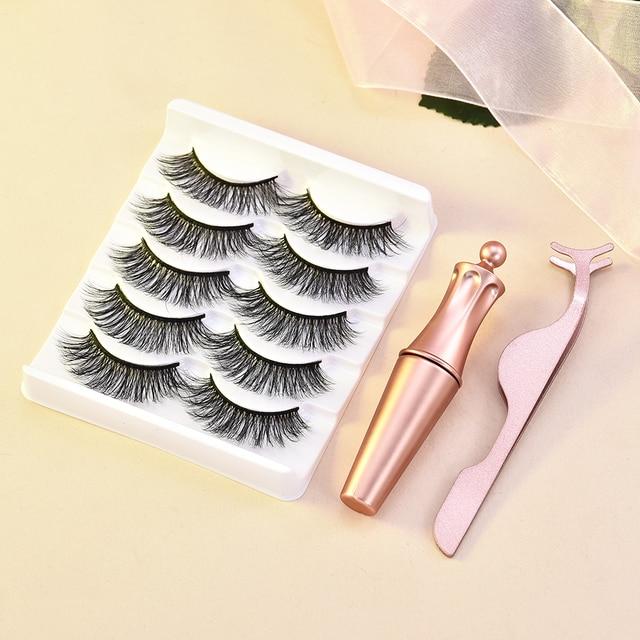 5/3 Magnet Eyelash Magnetic Liquid Eyeliner & Magnetic False Eyelashes & Tweezer Set Waterproof Long Lasting Eyelash Extension 5