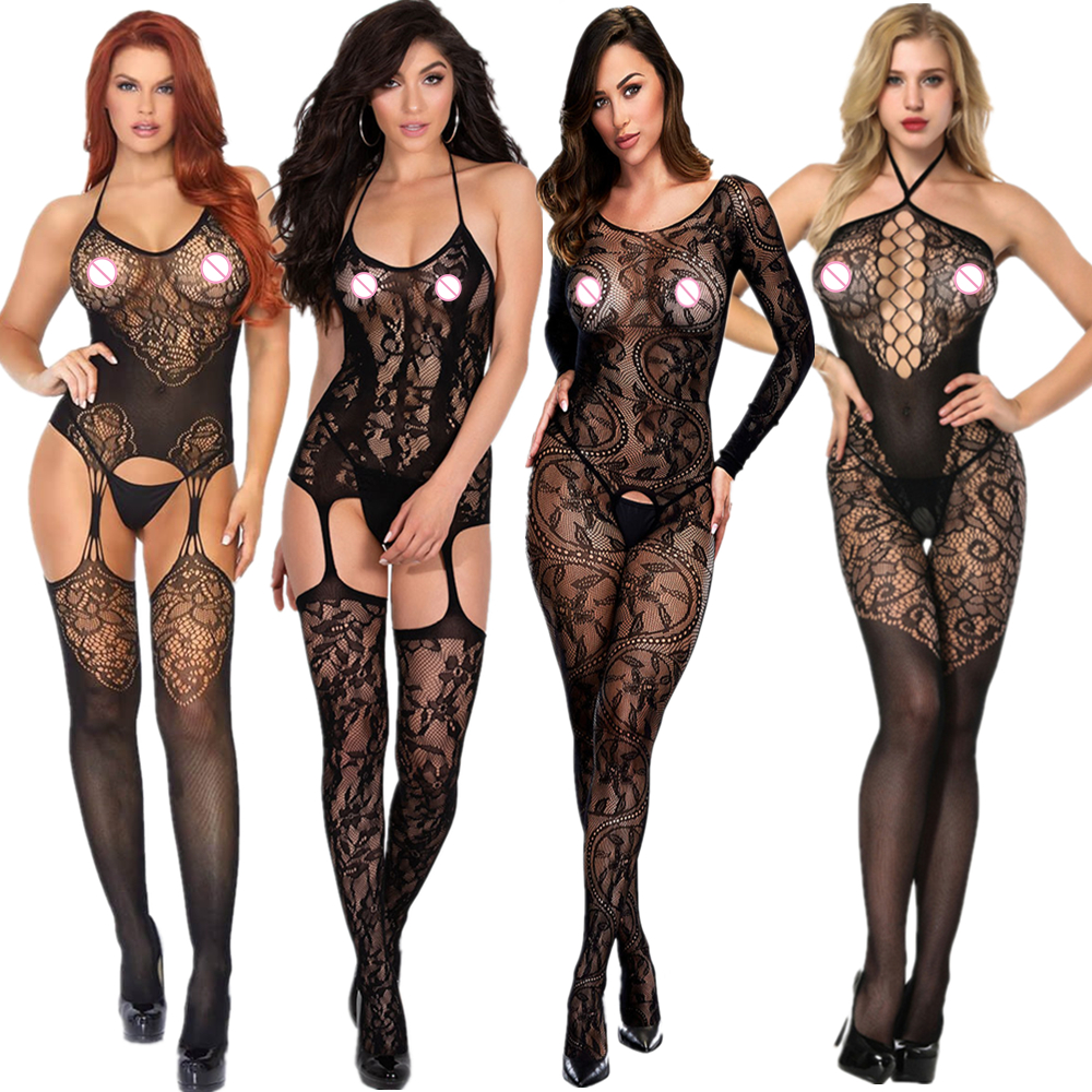 Porn Sexy Tights Women Sex Babydoll Sexy Lingerie Hot Erotic Costumes Open Crotch Sexy Underwear Plus Size WZ002