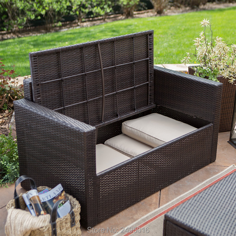 2-Piece Outdoor Loveseat And Coffee Table With Built In Storage Capacity  Rattan Style Deck Box Wicker Patio Furniture