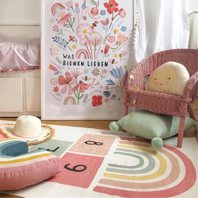 Non Slip Hopscotch Games Kid Carpet Bedroom Kids Rug Figures Print Floor Mat Playmat