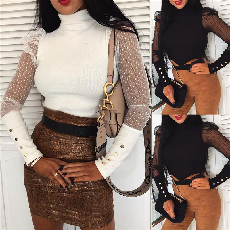 Women Spring Mesh Puff Long Sleeve Ribbed Knitted Shirt Slim Casual Solid Blouse Tops Elegant Turtleneck Party Clubwear