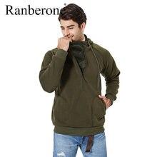 Ranberone мужские толстовки с карманами и длинным рукавом повседневный