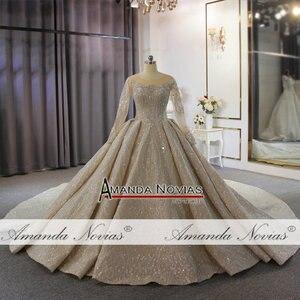 Image 4 - 2020 두바이 럭셔리 웨딩 드레스 긴 소매와 무거운 구슬 신부 드레스 100% 진짜 작업 고품질