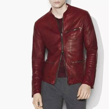 Jacket Sheepskin Original Red Italian Rust Vegetable Tanned Burst Crystal Designer Men's