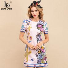 LD LINDA DELLA Summer Fashion Designer Mini abito da donna manica corta lussuoso perline stampa floreale abito da festa Vintage femminile