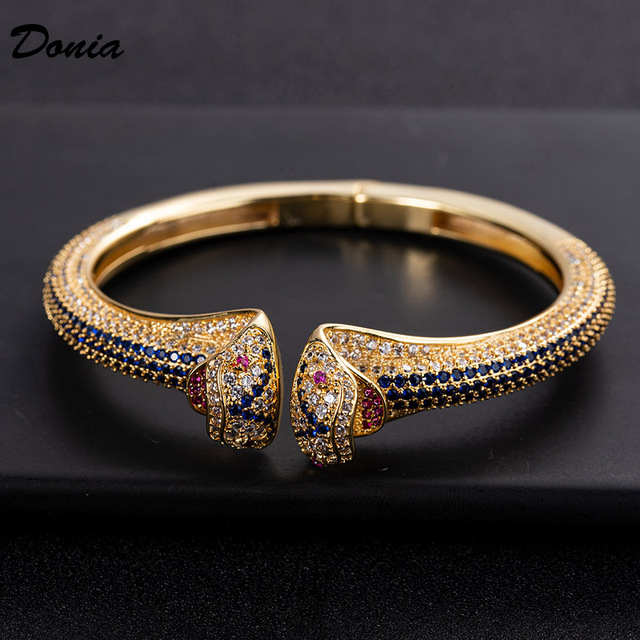 Donia jewelry fashion exaggerated European and American animal bracelet with AAA zirconia jewelry adjustable opening bracelet Fashion & Designs Fine Jewellery Jewellery & Watches Women's Fashion