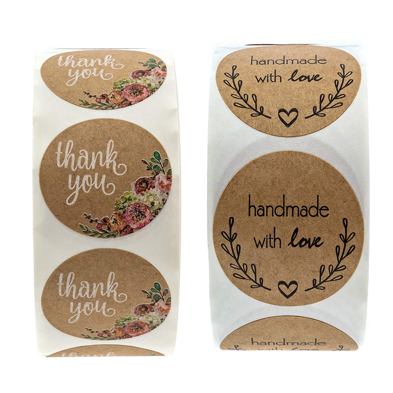 1000 Pcs 1 Inch Round Natural Kraft Stickers:500 Pcs Floral Thank You Stickers & 500 Pcs Olive Branch Handmade With Love Sticker