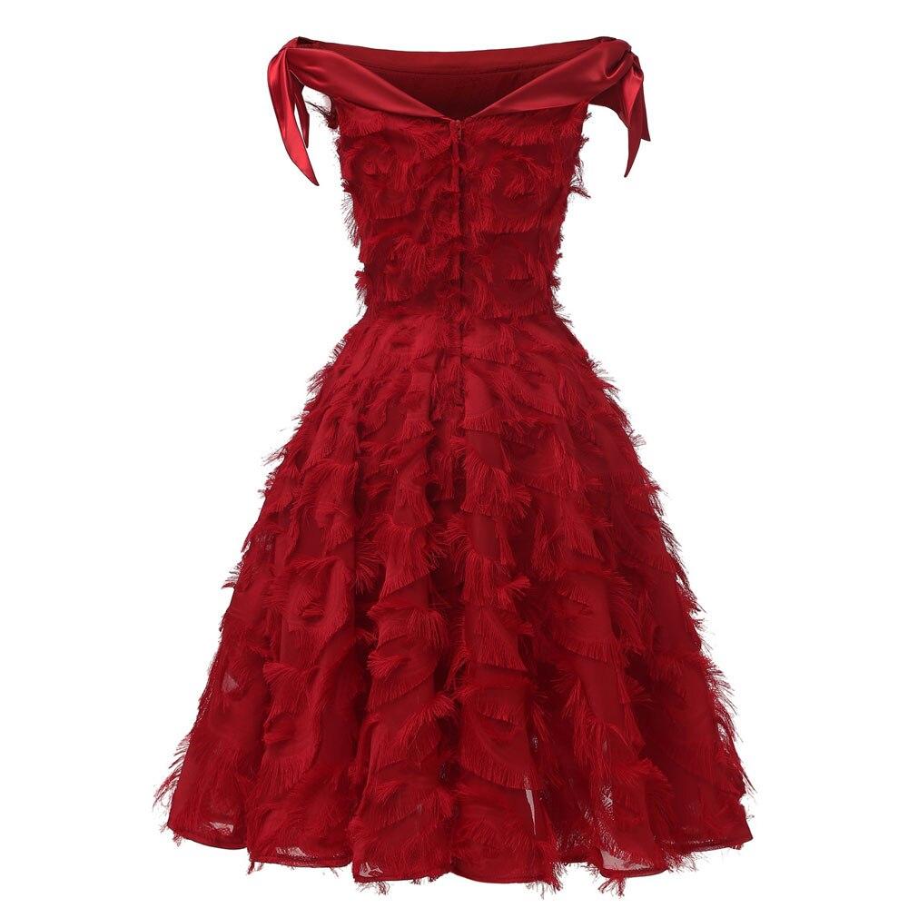 Красное коктейльное платье длиной до колена роскошное вечернее платье трапециевидной формы с кисточками сексуальное платье без рукавов с v-образным вырезом