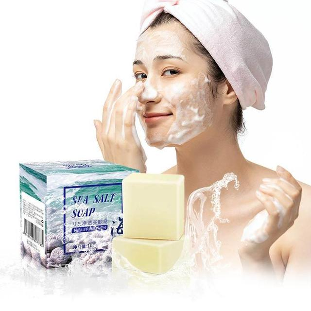 Sea Salt Soap whitening Moisturizing Wash Base Removal Care Treatment Face Pores Acne Pimple Foaming Net With V8U1 4