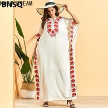 Conheça o sonho de moda plus tamanho manga morcego feminina bordado plissado boêmio vestido de morango árabe vestido de mulher