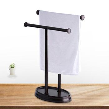 Hotel ze stali nierdzewnej gospodarstwa domowego wieszak na ręczniki wieszak na ręczniki podłogi podwójny słup łazienka podwójne w kształcie litery T wieszak na ręczniki wieszak na ręczniki nowoczesne półka wieszak na ręczniki tanie i dobre opinie T-shaped Towel Rack Metal