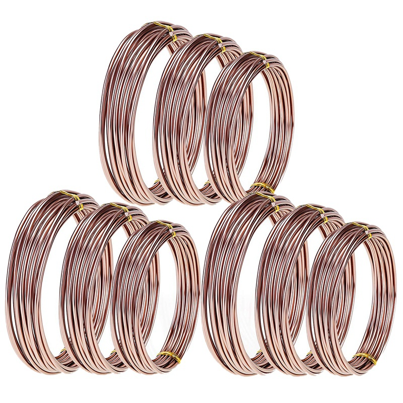 9 Rolls Bonsai Wires Anodized Aluminum Bonsai Training Wire with 3 Sizes (1.0 Mm,1.5 Mm,2.0 Mm),Total 147 Feet (Brown)(China)