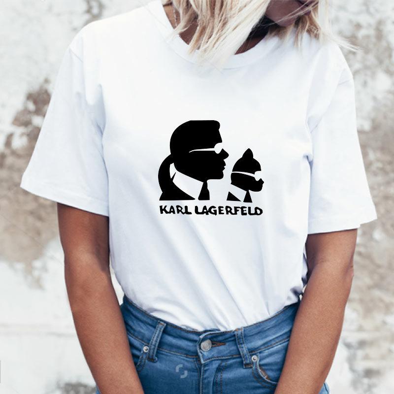 2020 Vetements Women Summer Tshirt Short Sleeve Designer Cartoon Karl Print T-shirt Fashion Personality Casual Tee Top Clothing