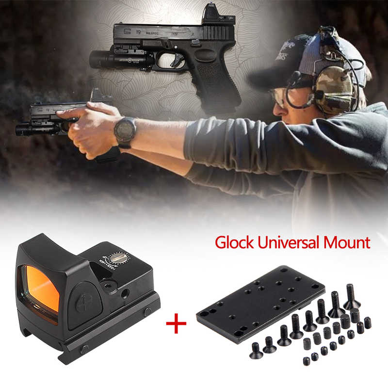 Mini RMR Red Dot Sight Collimator Scope Reflex Sight Scope Met Glock Universele Mount Airsoft Hunting Rifle Optische Zicht