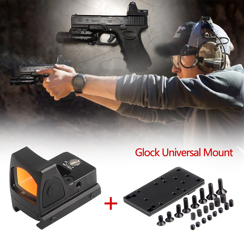 Mini RMR Red Dot Sight Collimator Scope Reflex Sight Scope With Glock Universal Mount Airsoft Hunting Rifle Optical  Sight