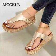 MCCKLE Women's Sandals Gladiator Platform Flat Slippers for Women Cork Trend Female Outdoor Flip Flops Ladies Summer Shoes