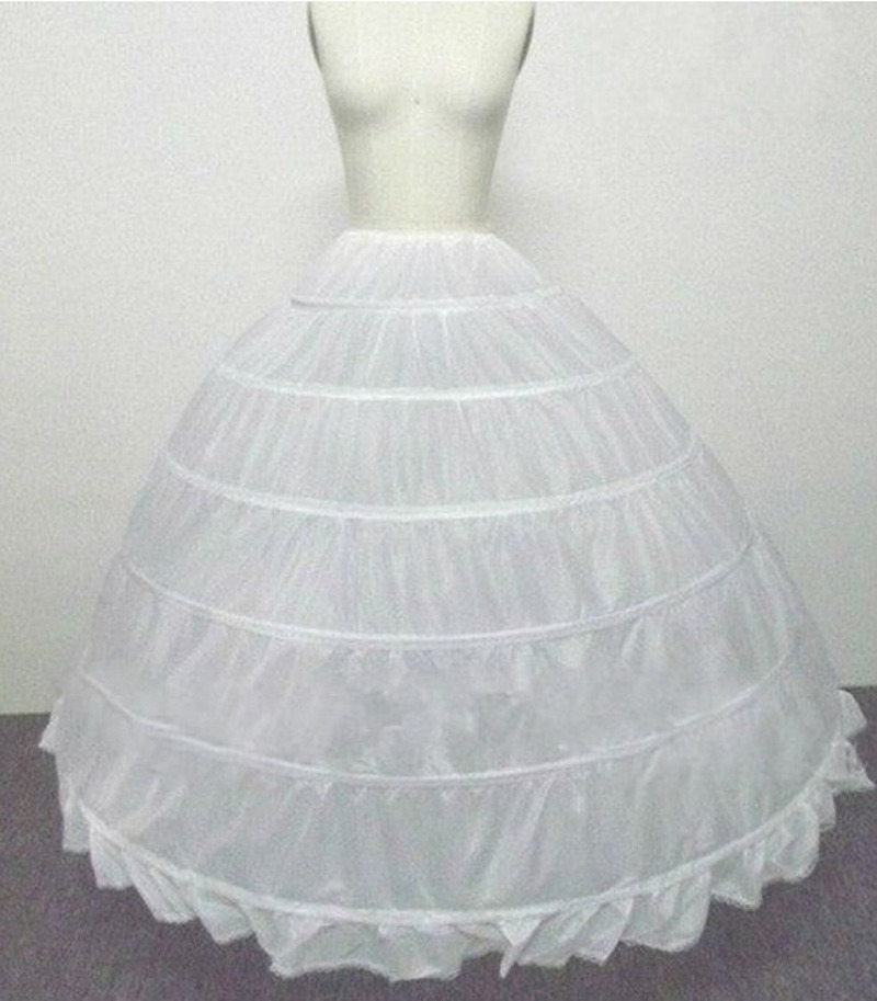 Wedding Accessories Petticoat Long Crinoline Underskirt 6 Hoops Skirt Petticoats White Tulle Dress Bridal Lolita Petticoat