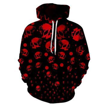Sudaderas con capucha de calavera para hombres, sudaderas con capucha impresión en 3D divertida, sudaderas con capucha de Hip HOP, ropa de calle novedosa, chaquetas de otoño con capucha, chándales Mlae