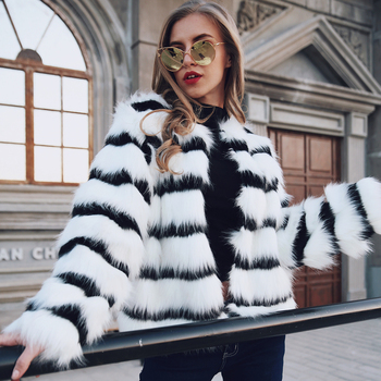 European Style White And Black Striped Women Jackets Coat Artificial Fur Wool Overcoat Slim Thicken Female Casaco Outerwear