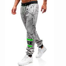 Casual Strap print Trousers for Men Sportswear Sweatpants Joggers & Sweats Mens Pocket Black Gray