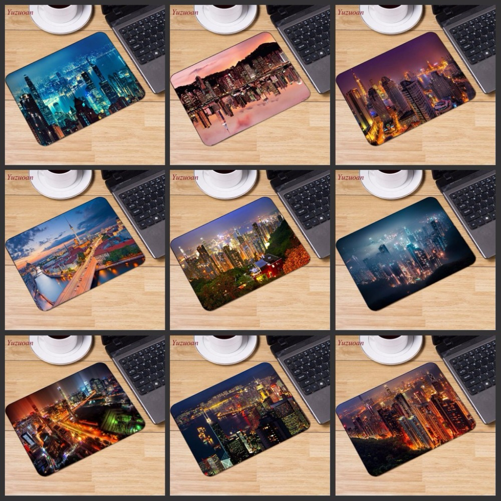 Yuzuoan Big Promotion Russia Hong Kong Nightscape Designs Gaming Speed Mouse Pad Gamer Play Mats Small Size For 180*220*2mm