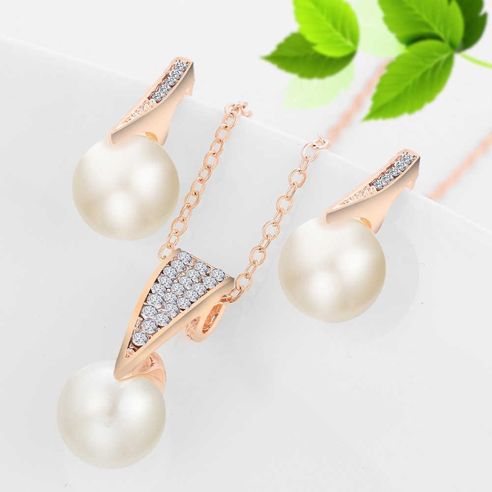 2Pcs Luxury Women Rhinestone Faux Pearl Charm Necklace Stud Earrings Jewelry Set