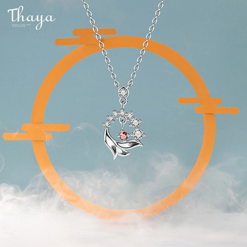 Thaya S925 Silver Necklace Lion Design Red Artificial Crystal Sterling Silver Pendant Necklace For Women Luxury Fine Jewelry silverhoo aurora pendant necklace halo crystal gem s925 sterling silver fashion necklace women s elegant engagement