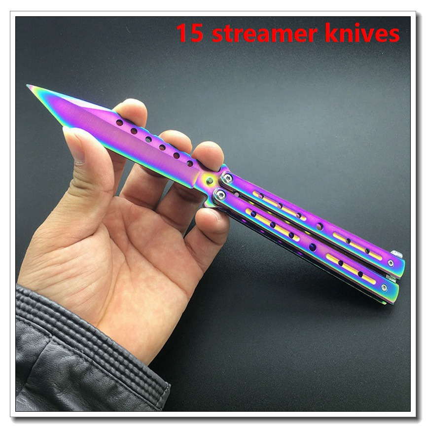 Streamer Butterfly Training Knife Folding Knife Titanium Practice Tool  Training Knife Set Accessories 1PC Quick Delivery