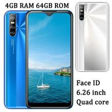 Quad core 7c android desbloqueado face id 4g ram 64g rom smartphones 6.26 water drop água gota tela telefones celulares originais telefones celares