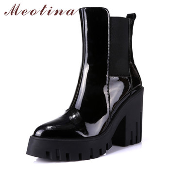 Meotina Winter Chelsea Boots Women Natural Genuine Leather Square Heel Ankle Boots Fashion Super High Heel Shoes Lady Size 34-39