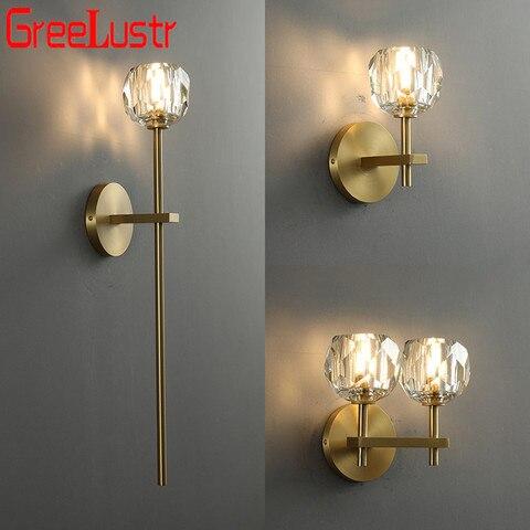 europeu de cobre led luzes parede cristal arandela para o quarto decoracao casa lampada cabeceira