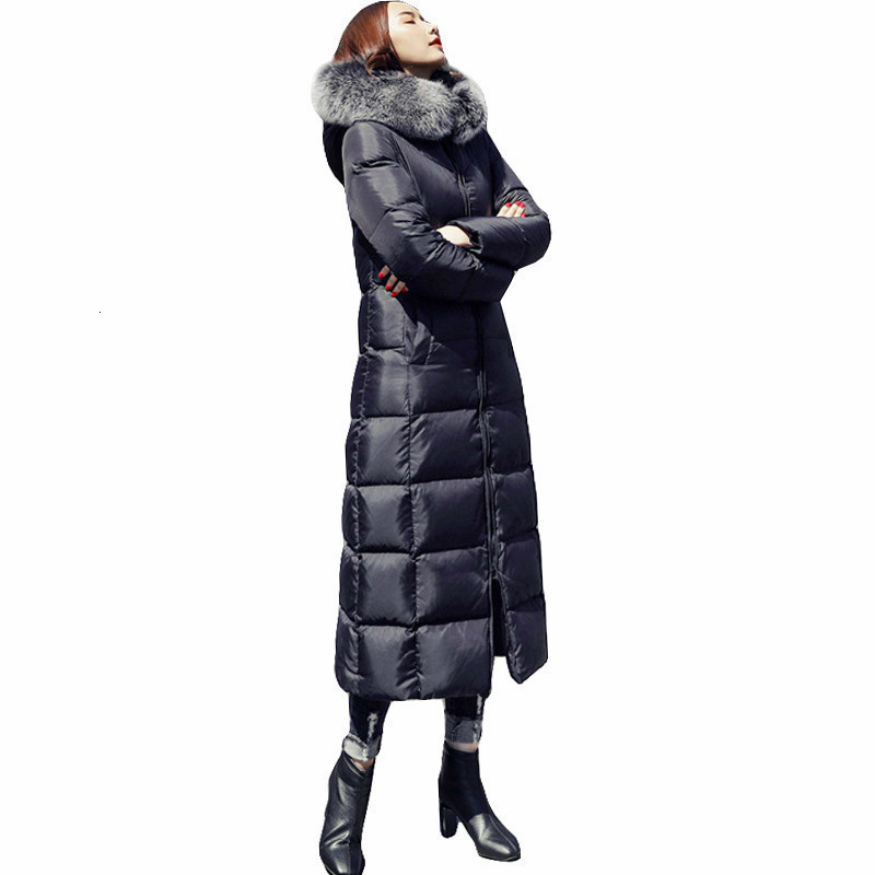 2019 Plus Size White Duck Down Jacket Raccoon Fur Fashion Winter Parka Long Thick Warm Goose Feather Coat Woman Clothing DD077