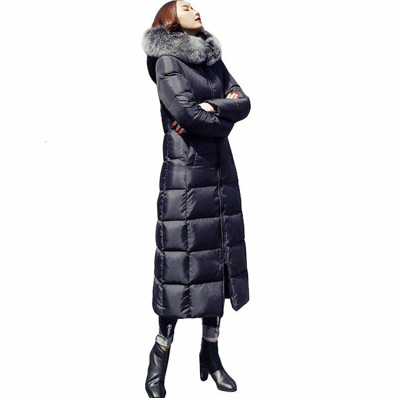 2019 Plus Size Witte Eend Donsjack Wasbeer Bont Mode Winter Parka Lange Dikke Warme Ganzenveren Jas Vrouw Kleding DD077