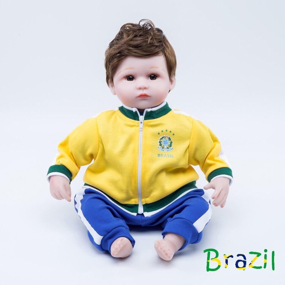 18 pouces poupée reborn bébé silicone boneca sport reborn bambin football jouets pour enfants brésil