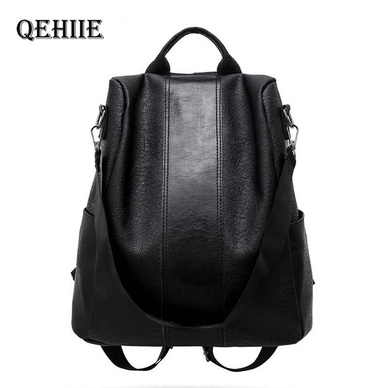 New Fashion Women Backpack Female Anti-theft Backpack Classic PU Leather Solid Color Backpack Fashion Shoulder Bags Dropshipping