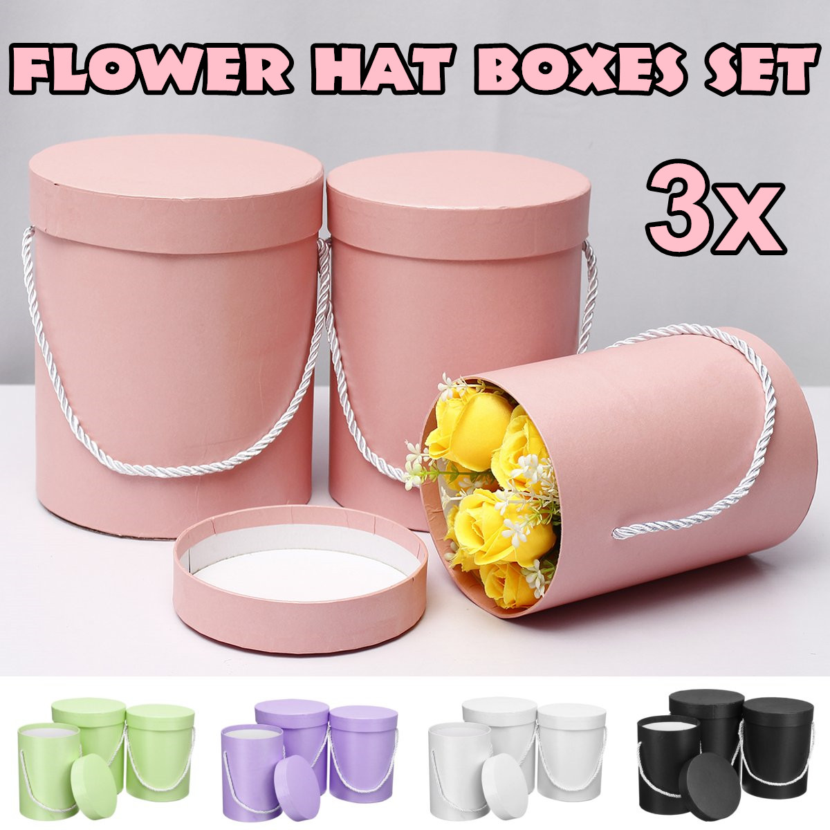 3 Pcs/Set Round Flower Paper Boxes With Lid Hug Bucket Florist Gift Packaging Box Home Wedding Decorations Flower Bouquet Holder