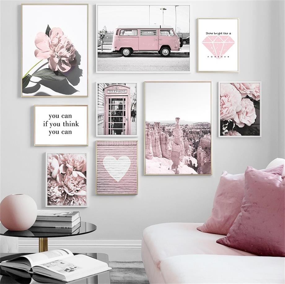 Pink Flower Bus Telephone Booth Rock Love Quote Wall Art Canvas Painting Nordic Posters And Prints Wall Pictures For Living Room