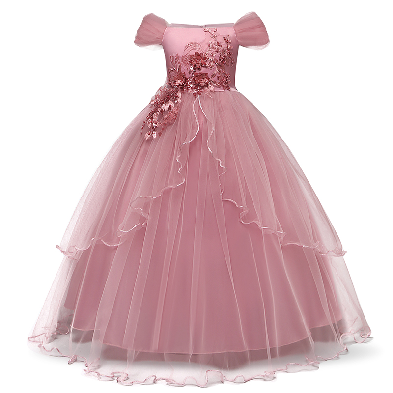 H8074fd4542a446fe8fa7176dbf65fe6dJ Vintage Flower Girls Dress for Wedding Evening Children Princess Party Pageant Long Gown Kids Dresses for Girls Formal Clothes