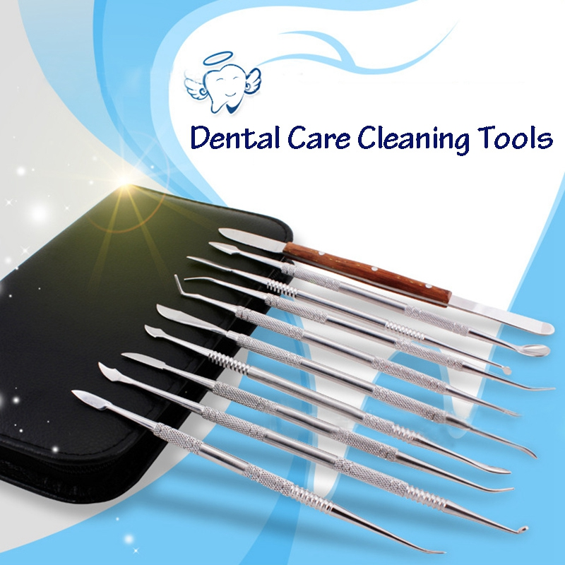 AMS-10 Pcs/Set Stainless Steel Dental Lab Equipment Wax Carving Tools Dentist Instruments Kit Dentist Dental Care Cleaning Tools