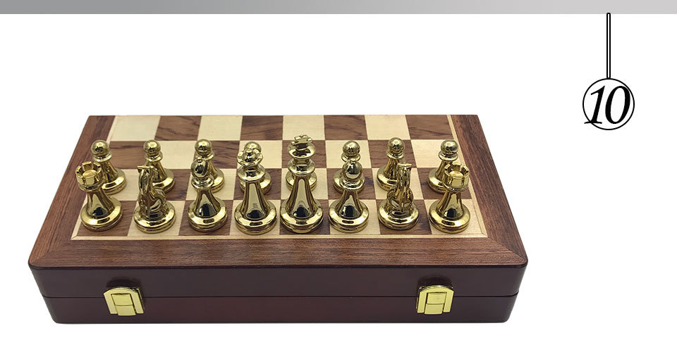 Easytoday Metal Glossy Golden And Silver Chess Pieces Solid Wooden Folding Chess Board High Grade Professional Chess Games Set (10)
