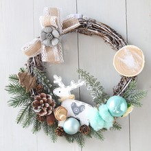 NewChristmas Wreath Christmas Large Door Wall Ornament Garland Decoration Fake Fruit Pine Decora for Home