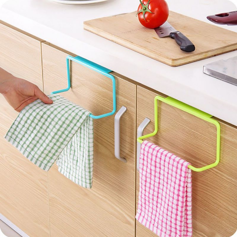 BL/_ Kitchen Iron Over Door Tea Towel Holder Rack Rail Cupboard Hanger Bar Hook E