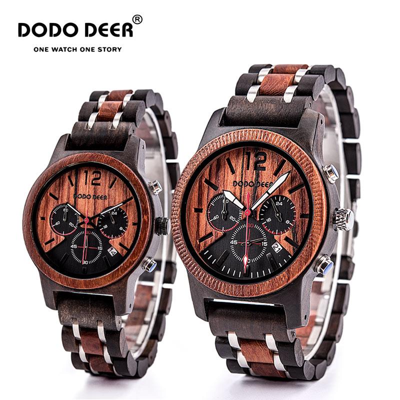 DODO DEER Wooden Watch Men And Women Creative Calendar Fashion Casual Quartz Watch Wooden Gift Box Packaging C19 C22