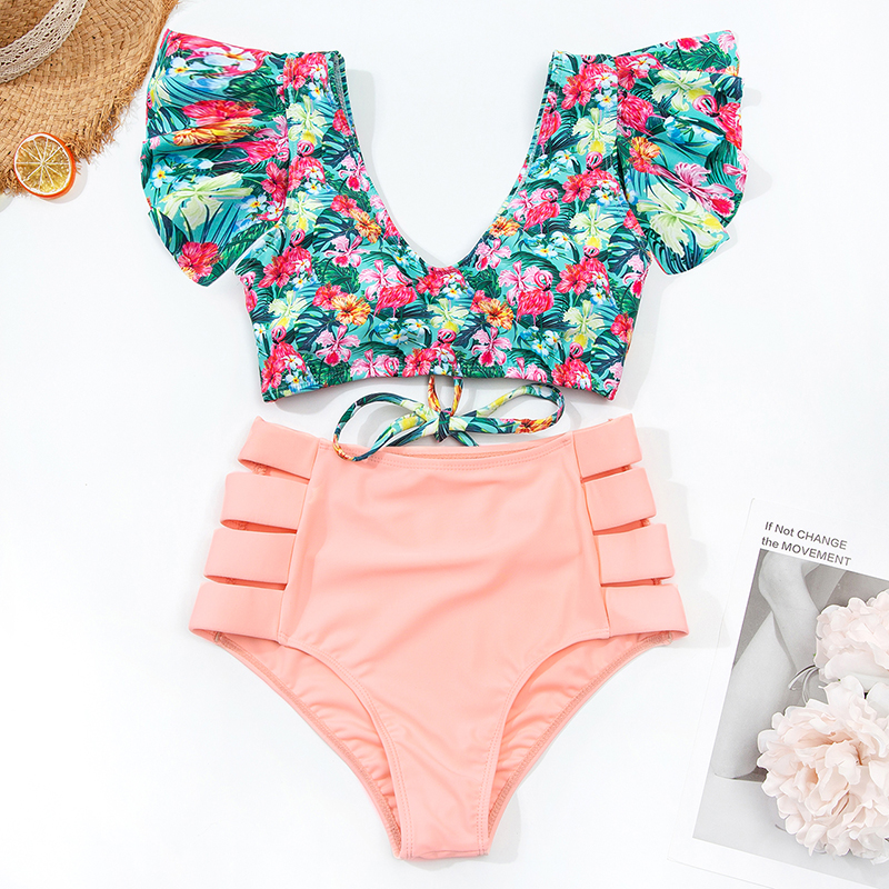 Swimwear Women Bikini High Waist Swimsuit Push Up Ruffle Bandage Bikini Set High Cut Brazilian Bathing Suit Two Piece Biquini