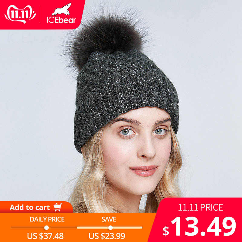 Icebear chapéus de inverno para mulheres de pele natural pompom chapéu quente outono gorros para moda feminina skullies senhora bonés E-MX19113Q