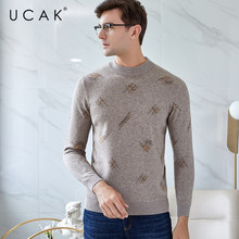 UCAK Tops Brand Sweater Men New Fashion Trend Pure Merino Wool Casual Autumn Winter Warm ThicK Streetwear Floral  Pullover U3150