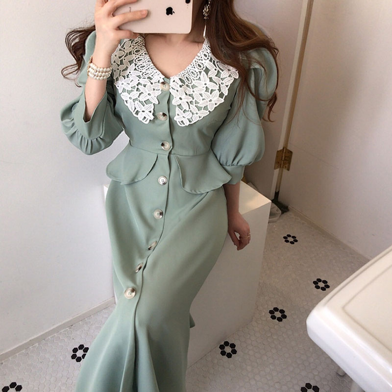 New Summer Lace Dress Female Lapel Hook Flower Stitching Single-breasted Five-point Bubble Sleeve Office Lady Dresses 2020 BW264