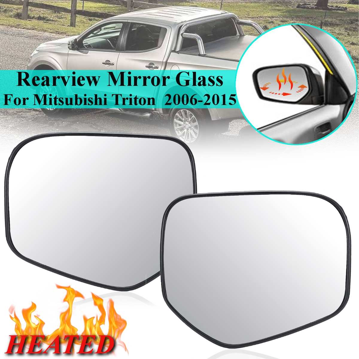 Left passegner side Silver Wing mirror glass for Citroen C4 Picasso 2008-2015